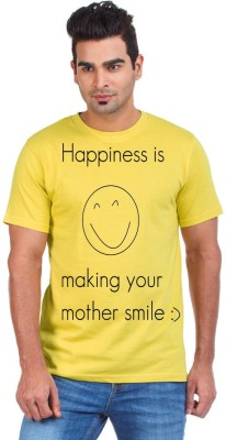 Bornify Printed Men's Round Neck Yellow T-Shirt
