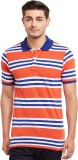 The Vanca Striped Men's Polo Neck Red T-...