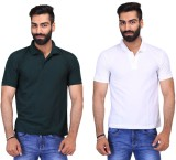 Ave Solid Men's Polo Neck Dark Green, Wh...