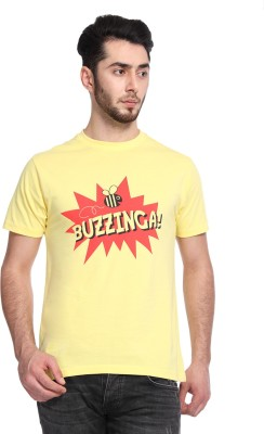 Knotees Printed Men's Round Neck Yellow T-Shirt