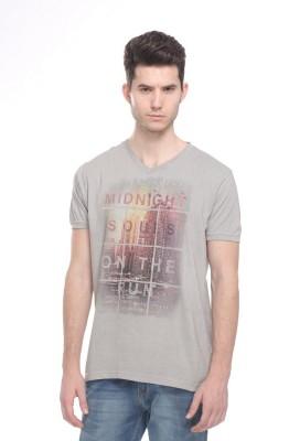 OCTAVE Printed Men's V-neck Grey T-Shirt