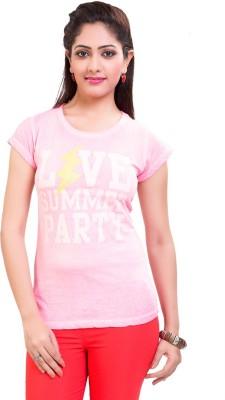 TVENO Printed Women's Round Neck Pink T-Shirt