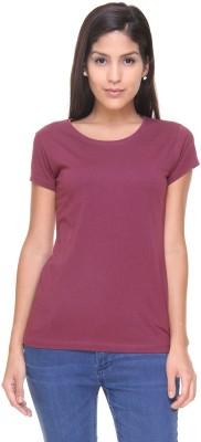 Alibi By Inmark Solid Women's Round Neck Maroon T-Shirt