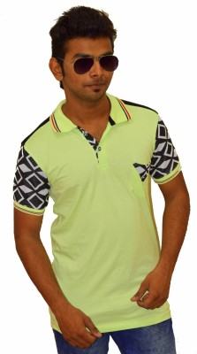 Sharp Fashion Solid Men's Polo Neck Green T-Shirt