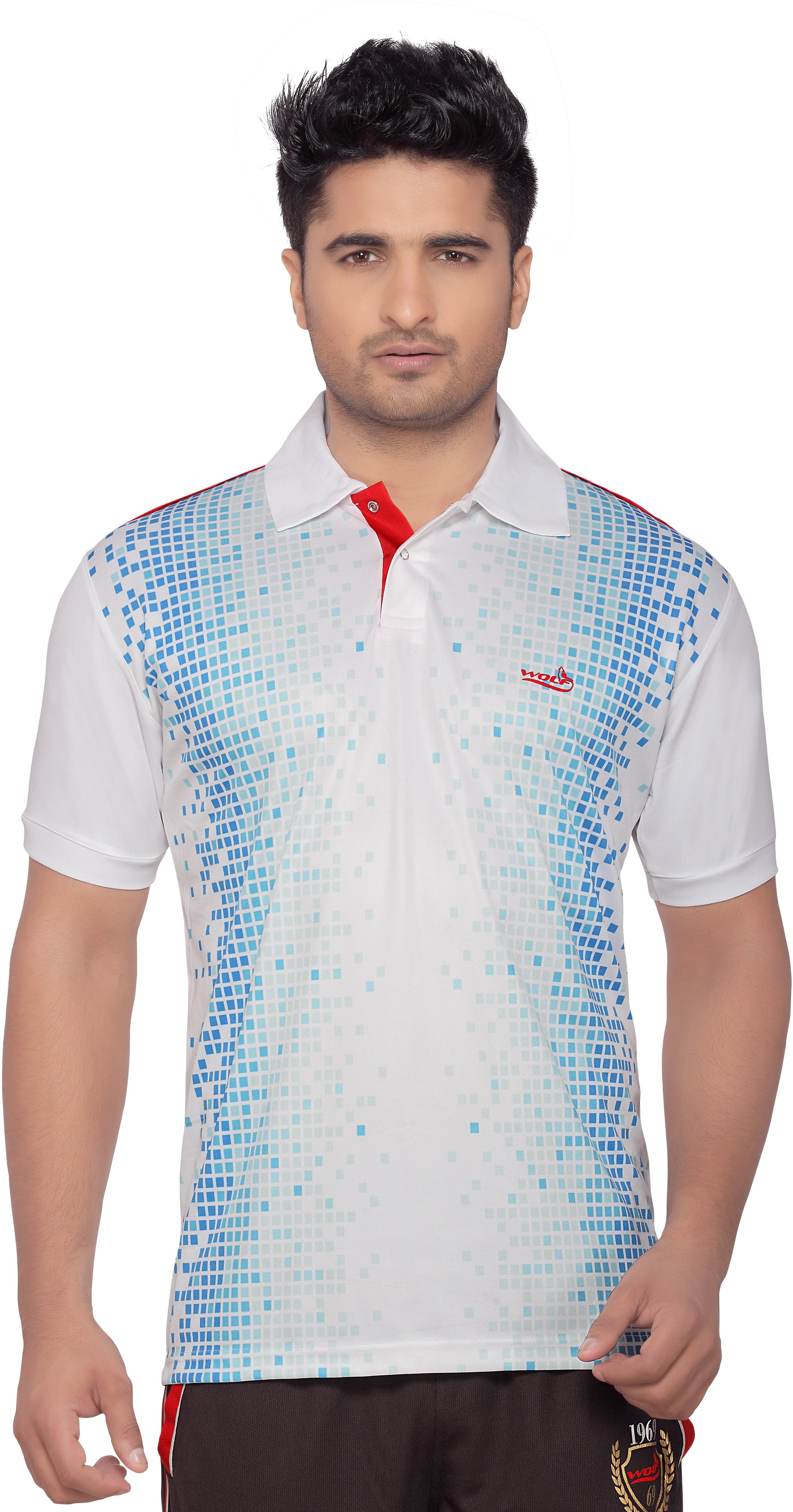 Wolf Printed Men's Polo Neck Denim Multicolor T-Shirt