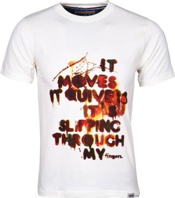 Wali Printed Men's Round Neck Beige T-Shirt