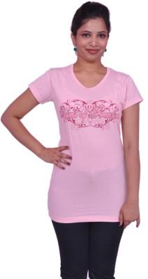 Jevaraz Printed Women's Round Neck Pink T-Shirt
