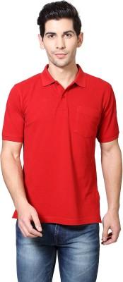 Van Heusen Solid Men's Polo Neck Red T-Shirt