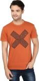 Ruse Printed Men's Round Neck Orange T-S...