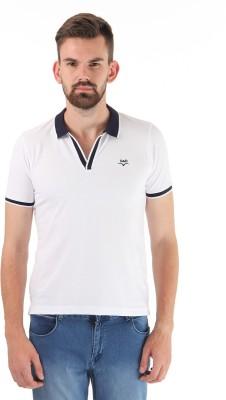 Cloak & Decker Solid Men's Polo Neck White T-Shirt