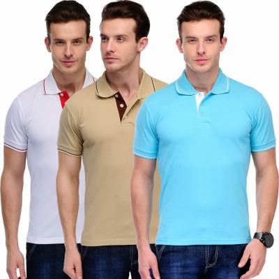 Scott International Solid Men's Polo White, Brown, Light Blue T-Shirt