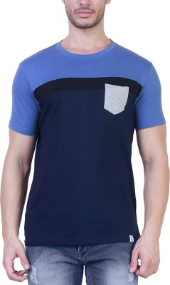 Unkonventional Solid Men's Round Neck Light Blue, Blue T-Shirt