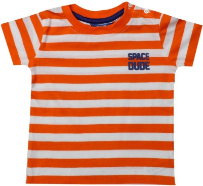 Big Tree Printed Baby Boy's Round Neck Orange T-Shirt