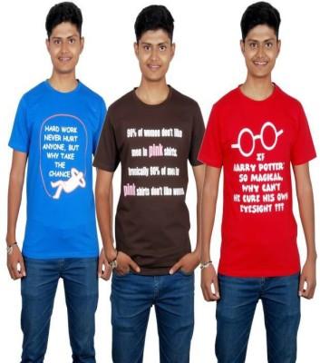Molecules Printed Men's Round Neck Blue, Brown, Red T-Shirt