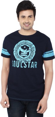 Zachi Printed Men's Round Neck Blue T-Shirt