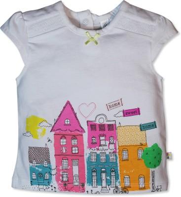 FS Mini Klub Printed Baby Girl's Round Neck White T-Shirt