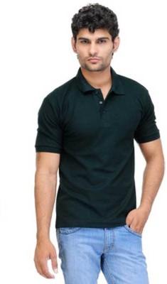 DiscountGod Solid Men's Polo Neck Black T-Shirt