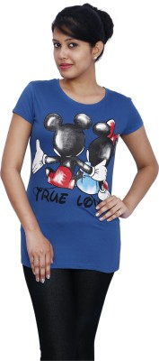 Fine Colors Printed Women's Round Neck Blue T-Shirt