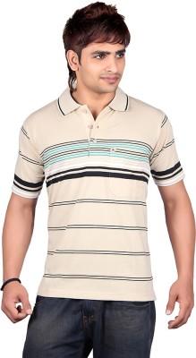 Dearclass Striped Men's Polo Neck Beige T-Shirt