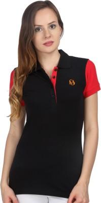 Oriel Merton Solid Women's Polo Black, Red T-Shirt