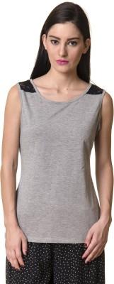 Rute Solid Women's Round Neck Grey T-Shirt