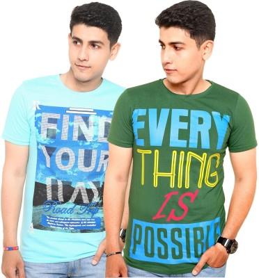 Zwizdot Printed Men,s Round Neck Light Blue, Green T-Shirt