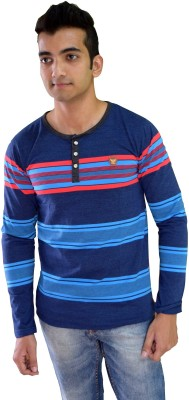 Beardo Striped Men's Mandarin Collar Dark Blue, Multicolor T-Shirt