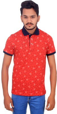 BOMBAY BLUES Printed Men's Polo Neck Red T-Shirt