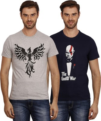 Crush on Craze Printed Men's Round Neck Grey, Dark Blue T-Shirt