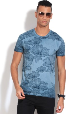 United Colors of Benetton Printed Men's Round Neck Blue T-Shirt