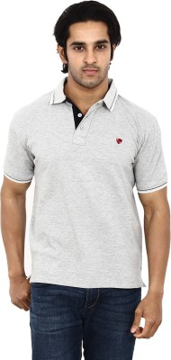 STACKIA Solid Men's Polo Neck Grey T-Shirt