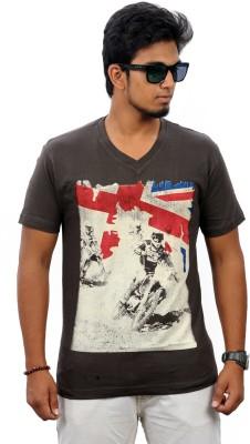 Stylefox Graphic Print Men's V-neck Brown T-Shirt