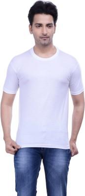 MKM Solid Men's Round Neck White T-Shirt