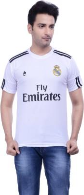 DINAAR Printed Men's Round Neck White, Black T-Shirt