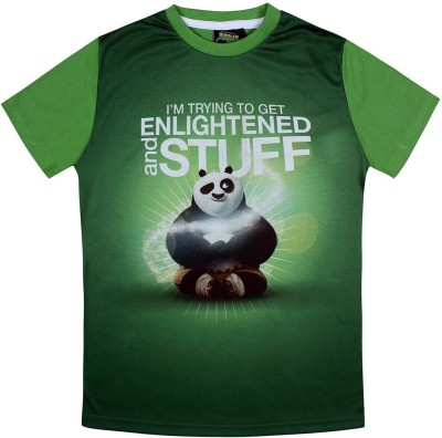 KUNG FU PANDA Printed Boy's Round Neck Green T-Shirt