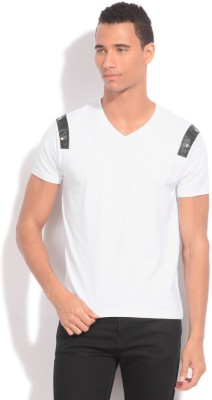 Global Nomad Solid Men's V-neck White T-Shirt