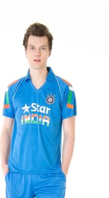 Burdy Printed Men's Polo Neck Blue T-Shirt