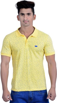 Parv Collections Printed Men's Polo Neck Yellow T-Shirt
