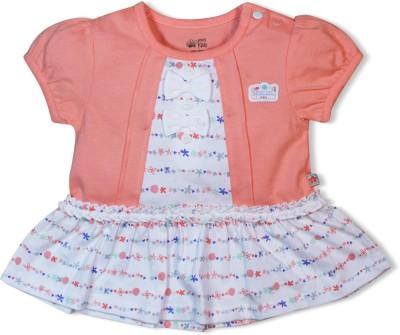 FS Mini Klub Printed Baby Girl's Round Neck Pink T-Shirt