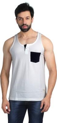 Nostrum Jeans Solid Men's Round Neck White, Dark Blue T-Shirt