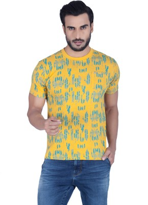 Lawman Printed Men's Round Neck Yellow T-Shirt