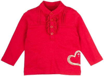 Mom & Me Solid Baby Girl's Peter Pan Collar Red T-Shirt