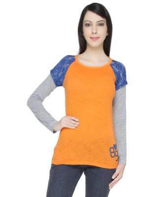 Bedazzle Solid Women's Round Neck Orange T-Shirt