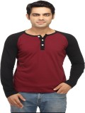 Leana Solid Men's Henley Maroon, Black T...