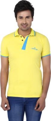 Kraasa Self Design Men's Polo Neck Yellow, Light Blue T-Shirt