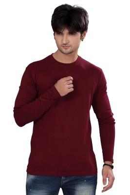 Elegance Cut Solid Men's Round Neck Maroon T-Shirt