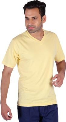 Humbert Solid Men's V-neck Yellow T-Shirt