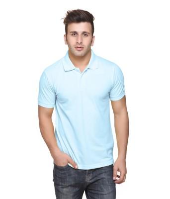 DoubleF Solid Men's Polo Neck Light Blue T-Shirt