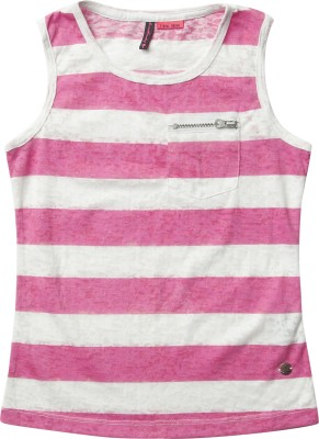 SuperYoung Printed Girl's Round Neck Pink T-Shirt