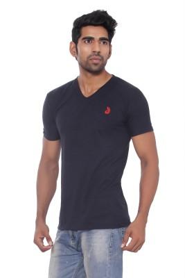 Pezzava Self Design Men's V-neck Reversible Blue, Red T-Shirt